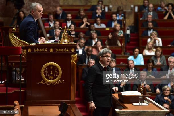 La France Insoumise leftist party's parliamentary group president JeanLuc Melenchon delivers a speech as President of the National Assembly Francois...