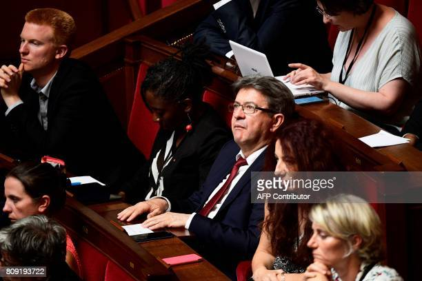 La France Insoumise leftist party's parliamentary group president JeanLuc Melenchon attends a session of questions to the Government at the French...