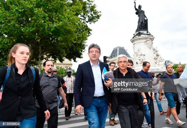 La France Insoumise leftist party's parliamentary group president JeanLuc Melenchon attends a demonstration against the French government's planned...