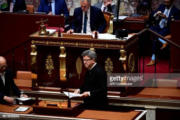 La France Insoumise leftist party's parliamentary group president JeanLuc Melenchon arrives to deliver a speech as National Assembly President...