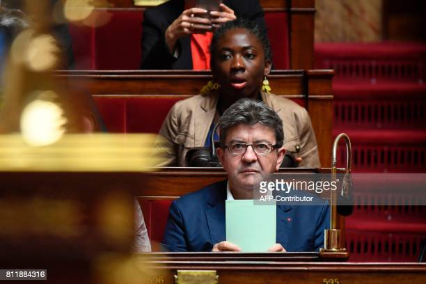 La France Insoumise leftist party's parliamentary group president JeanLuc Melenchon looks on on July 10 2017 at the French National Assembly in Paris...