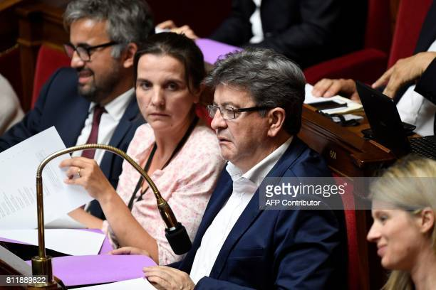 La France Insoumise leftist party's parliamentary group president JeanLuc Melenchon looks on during the start of a debate on July 10 2017 at the...