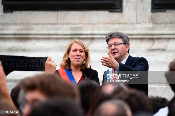 La France Insoumise leftist party's parliamentary group president JeanLuc Melenchon and Paris city councillor and member of the French leftwing Parti...