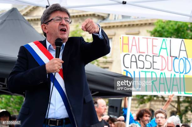 La France Insoumise leftist party's parliamentary group president JeanLuc Melenchon speaks at a demonstration against the French government's planned...