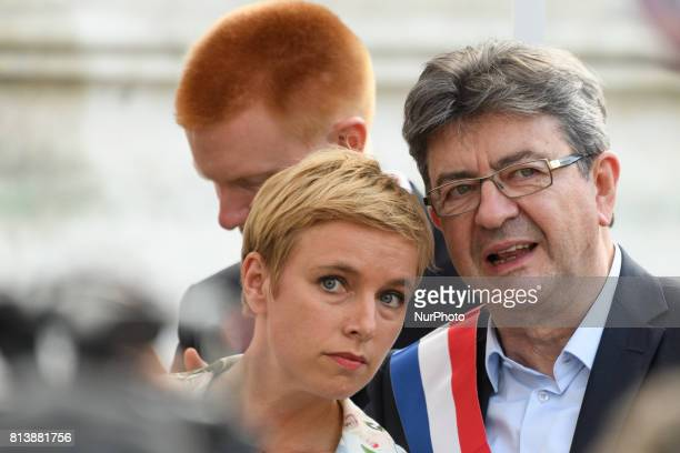 La France Insoumise leftist party's parliamentary group president JeanLuc Melenchon and Clementine Autain attend a demonstration against the French...