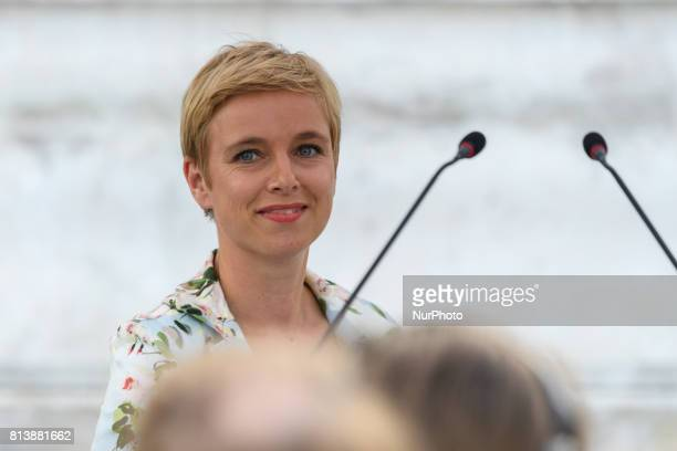 La France Insoumise member of Parliament Clementine Autain attends a demonstration against the French government's planned labour law reforms on the...