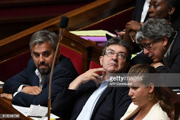 La France Insoumise party members of Parliament Alexis Corbiere and Mathilde Panot and Eric Coquerel and LFI parliamentary group president JeanLuc...