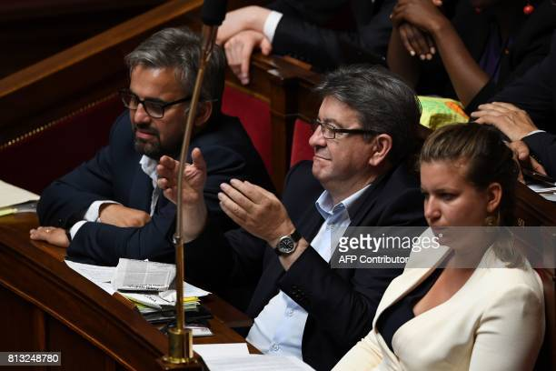 La France Insoumise party members of Parliament Alexis Corbiere and Mathilde Panot and LFI parliamentary group president JeanLuc Melenchon attend a...
