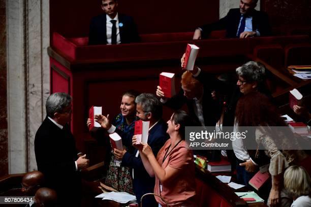 La France Insoumise party's Members of Parliament Mathilde Panot Alexis Corbiere Caroline Fiat Adrien Quatennens Daniele Obono Eric Coquerel and...
