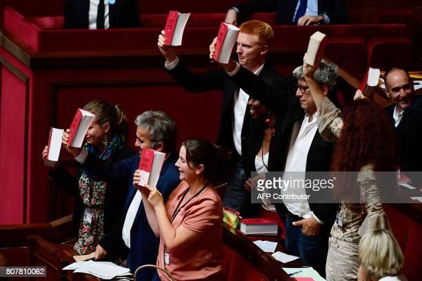 La France Insoumise party's Members of Parliament Mathilde Panot Alexis Corbiere Caroline Fiat Adrien Quatennens Daniele Obono Eric Coquerel...