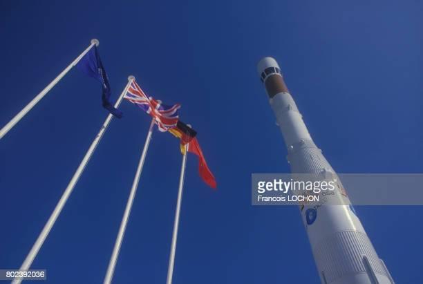 La fusée Ariane exposée au Salon de l'Aviation le 25 mai 1985 au Bourget France