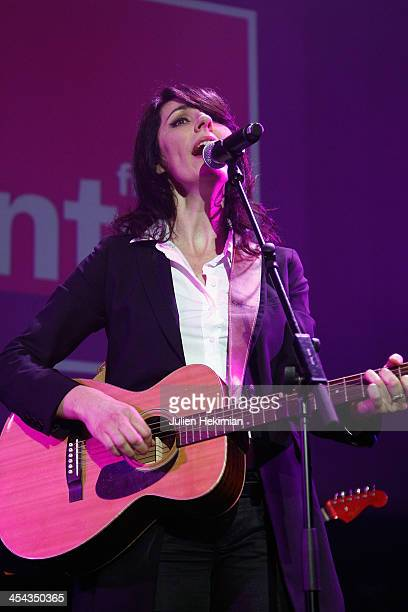 La Grande Sophie performs on stage during the 50th anniversary celebration of french radio France Inter at La Gaite Lyrique on December 8 2013 in...