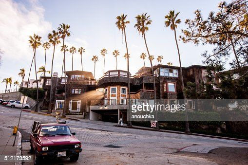 La Jolla street with car parked, California, USA