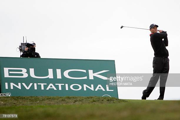 Golfer Tiger Woods tees off on the South Course 18th hole during the Buick Invitational PGA Golf Tournament Final Round in La Jolla California 28...