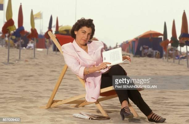 La journaliste Ruth Elkrief au Festival du Cinema Americain le 8 septembre 1991 a Deauville France