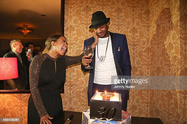 La La Anthony and Carmelo Anthony attend Carmelo Anthony's '30 for 30' Birthday Dinner at The NoMad Hotel on June 2 2014 in New York City