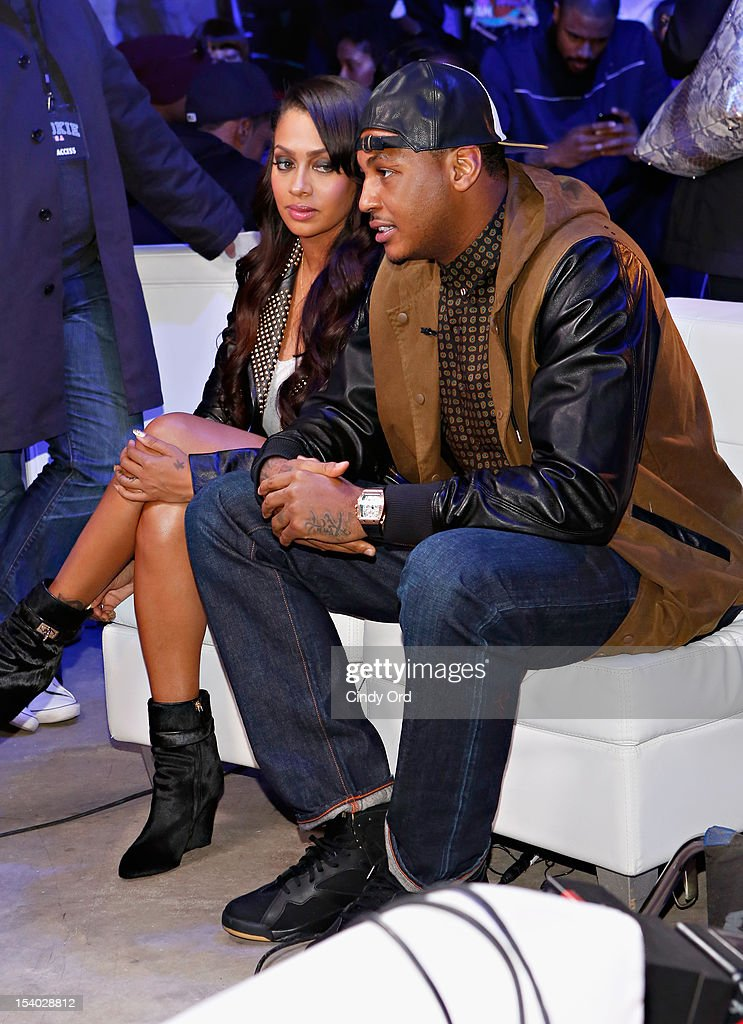 <a gi-track='captionPersonalityLinkClicked' href=/galleries/search?phrase=La+La+Anthony&family=editorial&specificpeople=209433 ng-click='$event.stopPropagation()'>La La Anthony</a> and <a gi-track='captionPersonalityLinkClicked' href=/galleries/search?phrase=Carmelo+Anthony&family=editorial&specificpeople=201494 ng-click='$event.stopPropagation()'>Carmelo Anthony</a> attend the Rookie USA Flagship Store Opening at Rookie USA on October 12, 2012 in New York City.