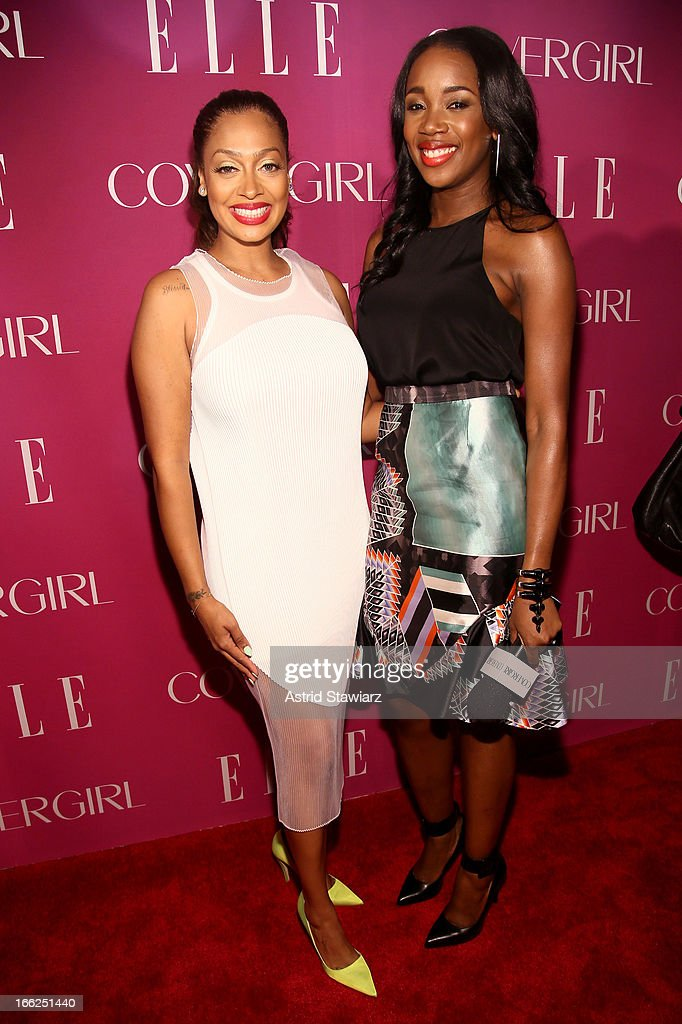 <a gi-track='captionPersonalityLinkClicked' href=/galleries/search?phrase=La+La+Anthony&family=editorial&specificpeople=209433 ng-click='$event.stopPropagation()'>La La Anthony</a> and DJ Kiss attend the 4th Annual ELLE Women in Music Celebration presented by Covergirl at The Edison Ballroom on April 10, 2013 in New York City.