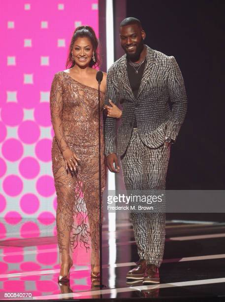 La La Anthony and Kofi Siriboe speak onstage at 2017 BET Awards at Microsoft Theater on June 25 2017 in Los Angeles California