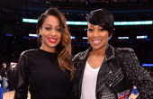 La La Anthony and Monica attend the Milwaukee Bucks vs New York Knicks game at Madison Square Garden on March 15 2014 in New York City