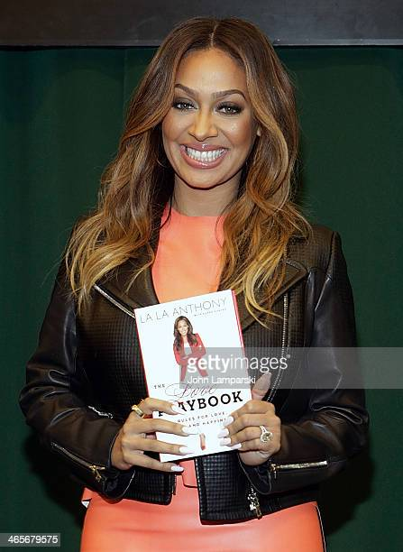 La La Anthony signs copies of her book 'The Love Playbook Rules For Love Sex And Happiness' at Barnes Noble Tribeca on January 28 2014 in New York...