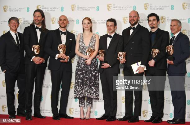 'La La Land' BAFTA winners cinematographer Linus Sandgren producer Fred Berger actress Emma Stone Justin Hurwitz composer Jordan Horowitz director...