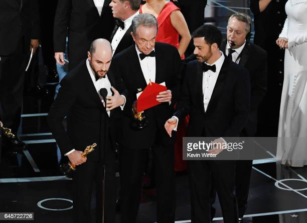 'La La Land' producer Jordan Horowitz announces the actual Best Picture winner as 'Moonlight' after a presentation error with actor Warren Beatty...