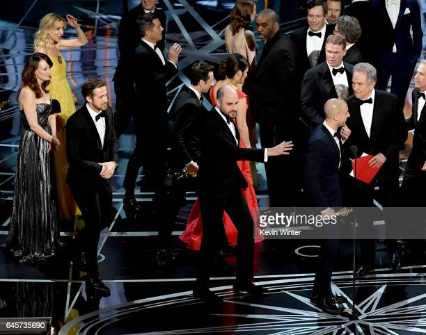 'La La Land' producer Jordan Horowitz stops the show to announce the actual Best Picture winner as 'Moonlight' following a presentation error with...