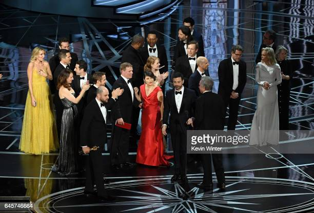 'La La Land' producer Jordan Horowitz stops the show to announce the actual Best Picture winner as 'Moonlight' following a presentation error onstage...