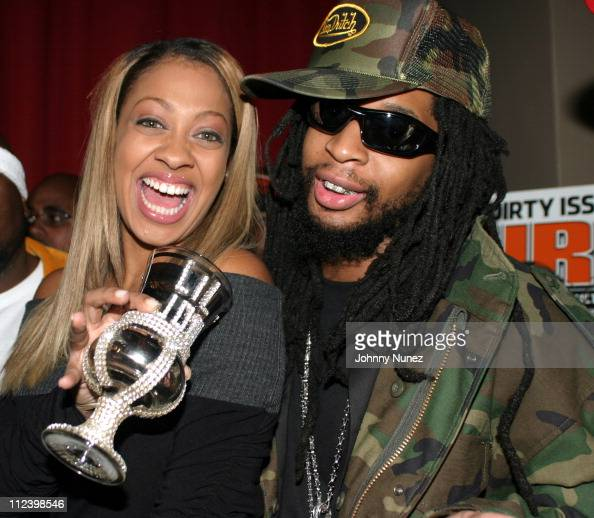 La La of MTV and Lil Jon during Lil Jon The Eastside Boyz' 'King Of Crunk' Double Platinum Party at Lobby in New York City New York United States