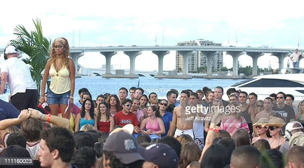 La La Vasquez and audience during MTV's 'TRL' 2004 Video Music Awards Edition at American Airlines Arena in Miami Florida United States
