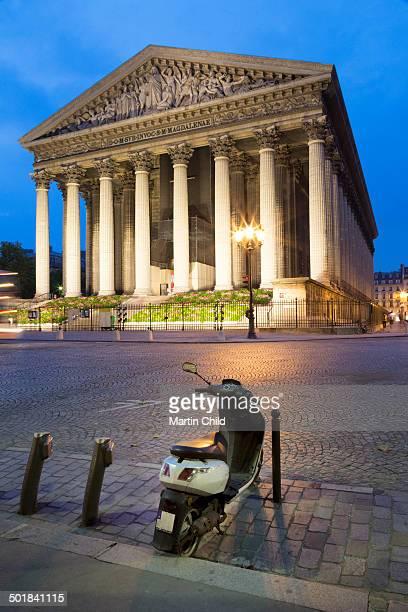 La Madeleine church in Paris at night