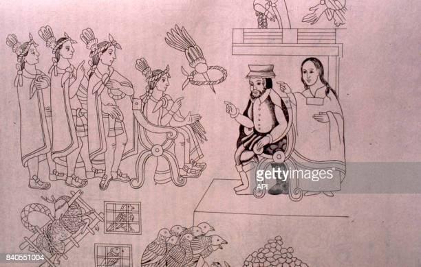 La Malinche traduisant lors de la rencontre entre le conquistador Hernan Cortes et l'empereur Moctezuma II illustration du codex de Tlaxcala