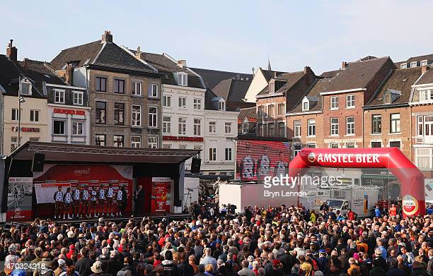 La Mondiale team are introduced to the crowd gathered in the square prior to the start of the 50th edition of the Amstel Gold Race on April 19 2015...