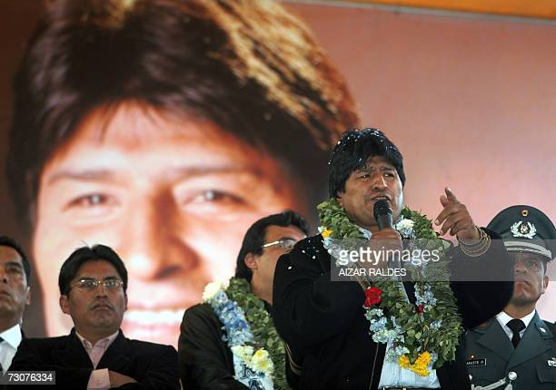 Bolivian President Evo Morales delivers a speech during a rally to celebrate his first year at the head of the government 22 January 2007 in La Paz...