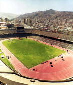 Panoramic view of the Hernando Siles stadium situated at 3600m altitude in La Paz 20 May 1996 FIFA announced 27 May 2007 a ban on international...