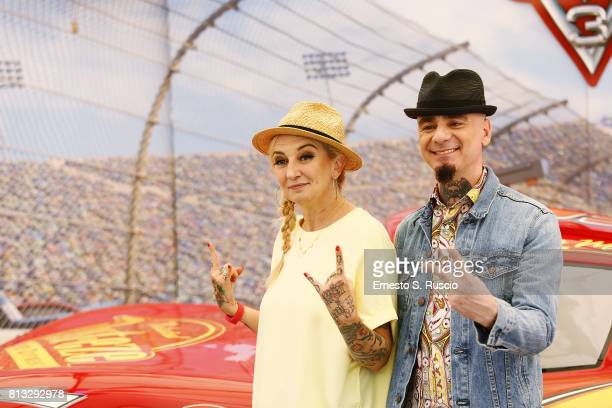 La Pina and JAx attend a photocall for Cars 3 at Hotel Parco Dei Principi on July 12 2017 in Rome Italy