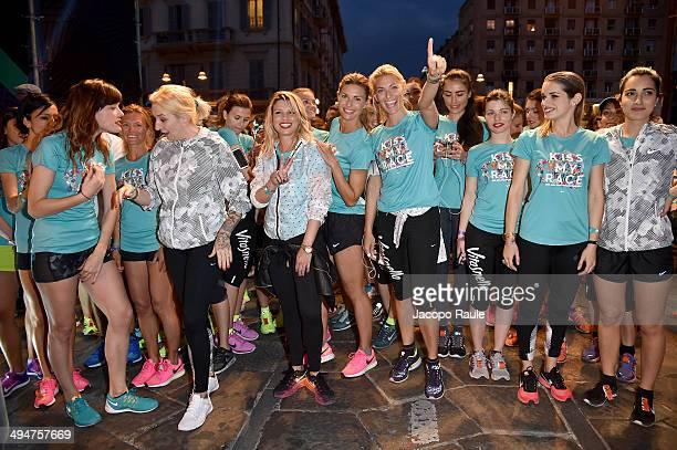 La Pina Emma Marrone Martina Colombari Federica Fontana and Levante compete in We Own The Night Milan Women's 10km Run on May 30 2014 in Milan Italy