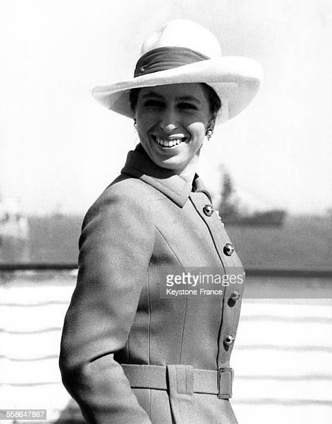 La Princesse Anne sur le pont du yacht royal 'Britannia' lors de la revue de la flotte de l'OTAN par la Reine Elizabeth le 16 mai 1969 a Spithead...