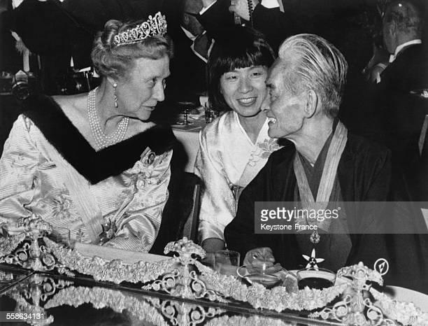 La Princesse Marguerite de Danemark et Monsieur Yasunari Kawabata ecrivain le 12 decembre 1968 a Stockholm Suede