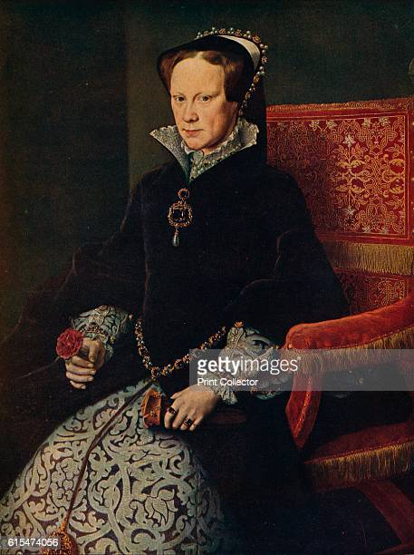 La Reina Maria De Inglaterra' The Queen sits in a crimson velvet chair holding the red rose of Tudor in hand she has a tense and somewhat stiff...