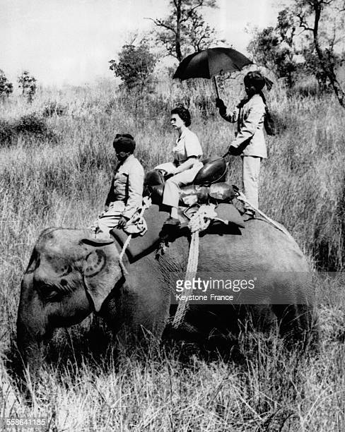 La Reine Elisabeth protegee par une ombrelle assise sur un elephant va participer a la chasse aux rhinoceros le 3 mars 1961 au Nepal