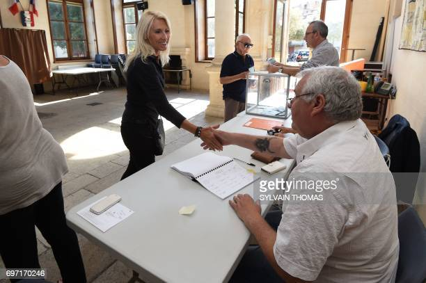La Republique en Marche party's candidate for the parlamentiary elections in the Gard second constituency former bullfighter on horseback Marie Sara...
