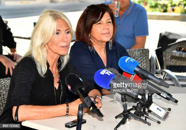 La Republique en marche party's candidate for the upcoming legislative elections in the Gard second constituency Marie Sara with her alternate Katy...