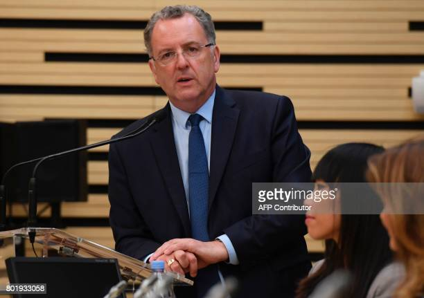 La Republique En Marche party's group president at the French national assembly Richard Ferrand gives a press conference after the first meeting of...