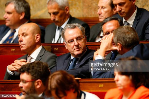 La Republique En Marche party's group president at the French national assembly Richard Ferrand attends a session at the National Assembly in Paris...