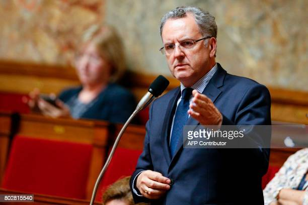 La Republique En Marche party's group president at the French national assembly Richard Ferrand speaks during a session at the National Assembly in...