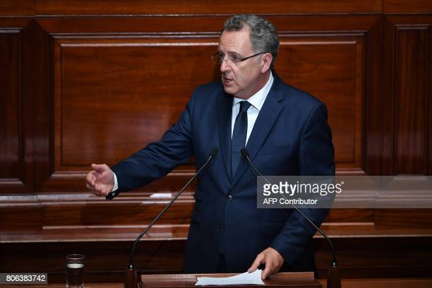 La Republique En Marche party's group president at the French national assembly Richard Ferrand delivers a speech during a special congress gathering...