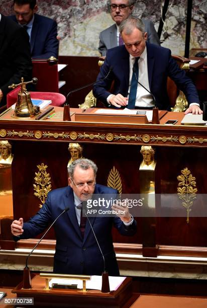 La Republique En Marche party's group president at the French national assembly Richard Ferrand delivers a speech as National Assembly President...