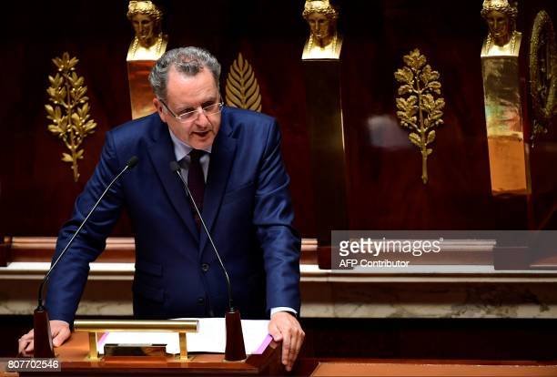 La Republique En Marche party's group president at the French national assembly Richard Ferrand delivers a speech following the French Prime...